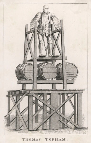 Thomas Topham, the strong man, performing one of his astonishing feats of strength in Spitalfields on 28 May 1741, by lifting barrels weighing 1386 lbs (!)