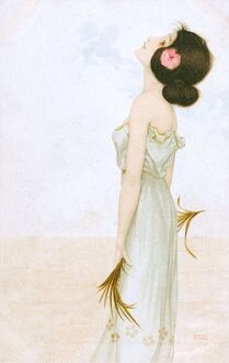 Raphael Kirchner - Art Nouveau lady holding looking upward