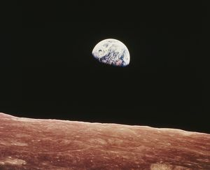 Earthrise as seen from above surface of the moon