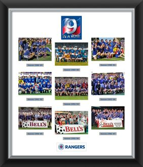 9 In A Row Celebration Mounted & Framed Montage Print