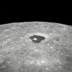 View of the large crater Tsiolkovsky on the lunar surface